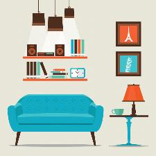 a living room, sofa and shelves
